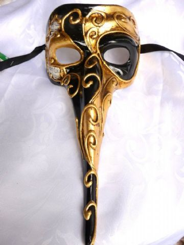 Genuine Venetian  Black & Gold  long nose Mask (1)